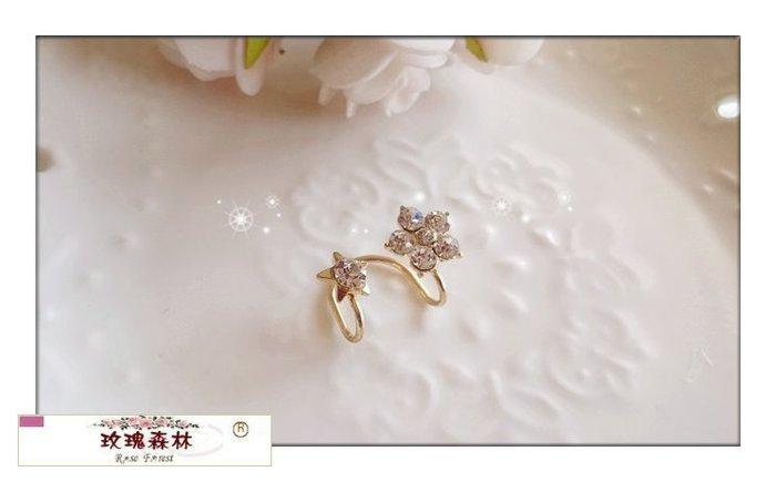 玫瑰森林-- ☆°*  美麗嚴選~ 甜美佳人精緻的 水鑽花朵&五角星 耳骨夾式 無耳洞耳環(特價)
