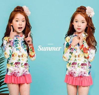 【Kathie Shop】韓國BUBBLETREE兒童防曬泳衣 女童分體長袖速乾拉鍊式泳裝 SE15