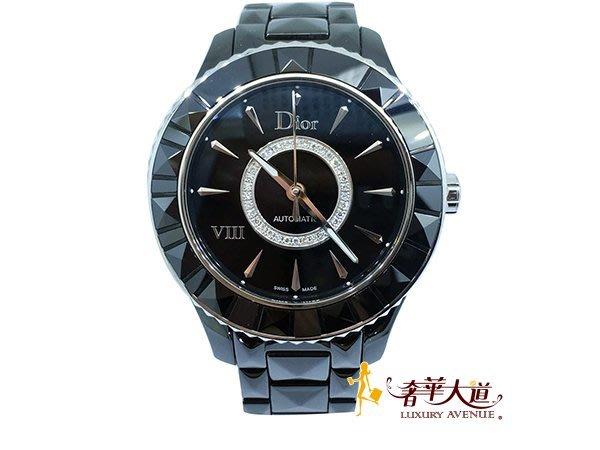 *奢華大道國際精品*【W0460】DIOR VIII 系列黑陶瓷鑲鑽機械腕錶-38mm