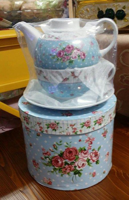 美生活館 -- 全新 鄉村風 骨瓷 玫瑰花 花草 杯壺杯組 一杯一壺一杯組 子母杯組 花茶咖啡杯組獨享杯組---淺藍款