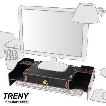 【TRENY直營】電腦螢幕增高架 (加厚大抽-黑) 電腦螢幕收納架 螢幕架 鍵盤架 鍵盤收納 抽屜 5088D-B