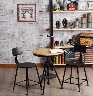 【工業復古】 鐵製靠背鐵椅 升降吧台桌/ 工業風旋轉椅 吧台椅 餐椅 高腳椅 美式鄉村風 做舊 酒吧椅 檯桌餐桌高腳桌