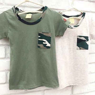 【班比納精品童裝】【台灣製】迷彩口袋袖徽章T恤上衣-綠/卡其-二色可選【BQ16042108】
