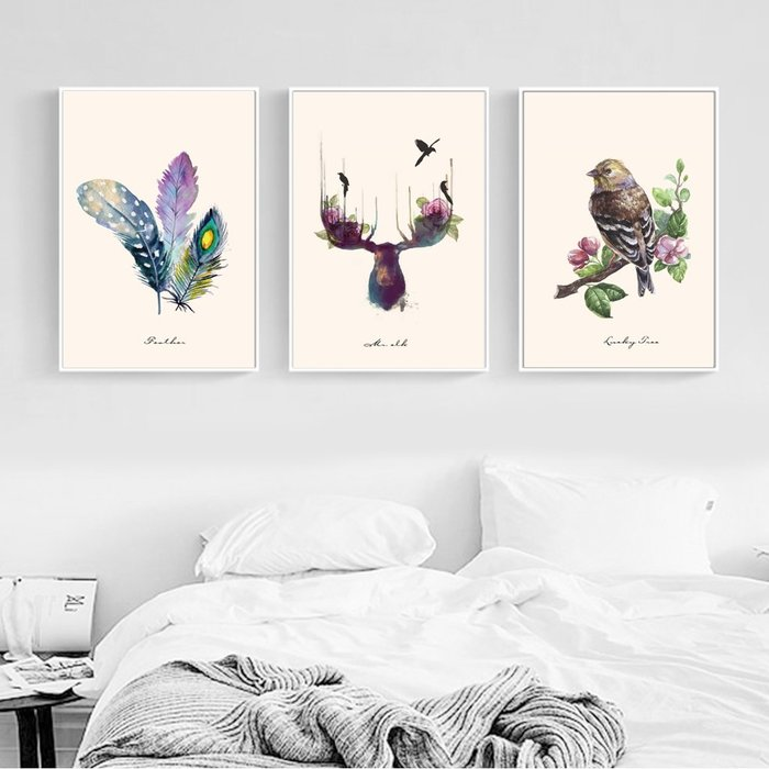 ins北歐風格麋鹿羽毛水彩小鳥裝飾畫畫芯高清微噴(3款可選)