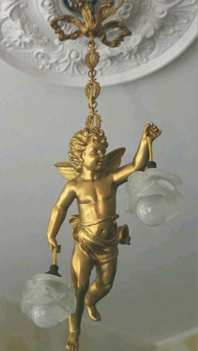 【波賽頓-歐洲古董拍賣】歐洲/西洋古董 法國古董 拿破崙三世風格 超大型銅雕天使吊燈/燭台2燈  (天使長度:37公分)(已售出)
