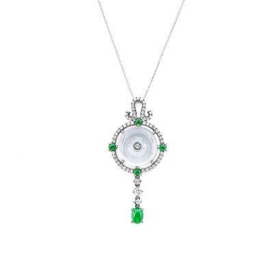 【JHT金宏總珠寶/GIA鑽石專賣】天然翡翠鑽墜/材質:14K(JD00036)