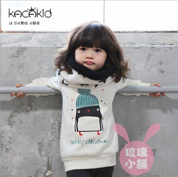 《琉璃的雜貨小舖》KACAKID 韓版 戴帽小企鵝加厚棉絨上衣 T恤(現貨)