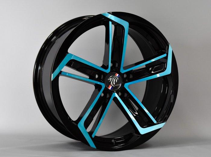 ╭☆輪鋪☆╯全新 DP360 17吋5孔100/5孔114.3/5孔108 黑套藍 鋁圈