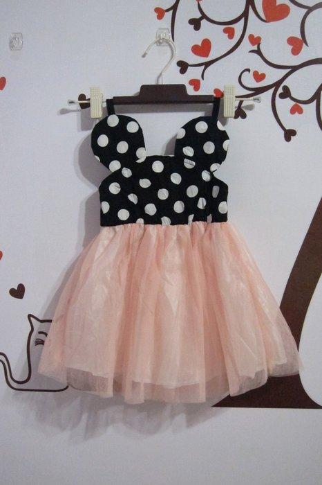 ~春夏 ~65%棉質細肩帶紗裙連身女童洋裝 禮服 蓬蓬裙圓點點 粉色  13 ~甜蜜小舖~