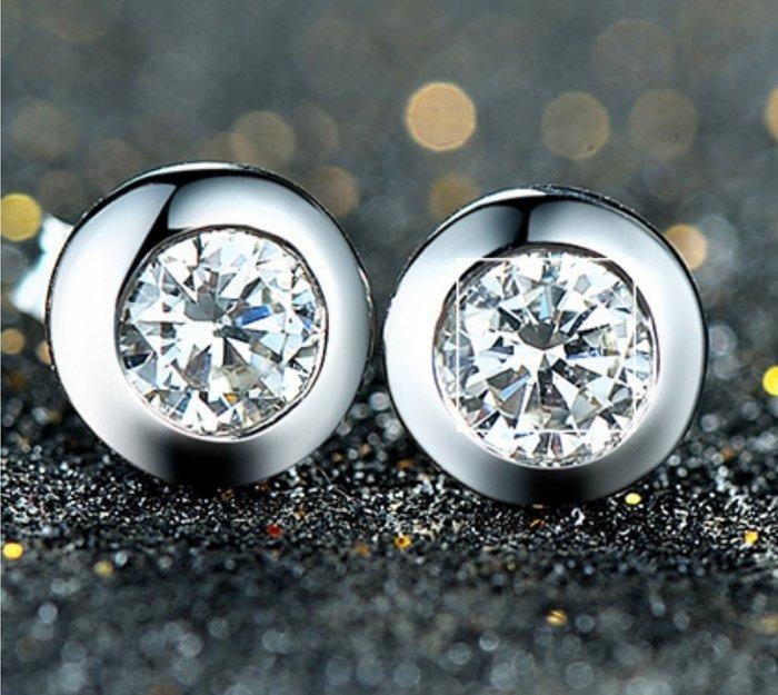 鑽石耳環0.5克拉精品名牌 舒適 不過敏 結婚 情人節禮物 鑽石高仿真鑽石純銀戒指 首飾   FOREVER鑽寶