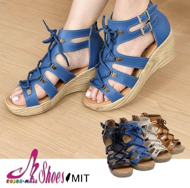 涼鞋~CM日韓鞋館~~023~A680~ 製MIT韓系率性穿繩楔型羅馬涼鞋.4色 黑 藍