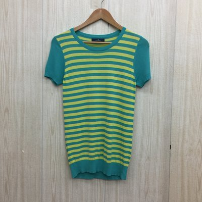 【愛莎&嵐】JUST MISS 女 湖水綠條紋短袖上衣 / 38 1070330