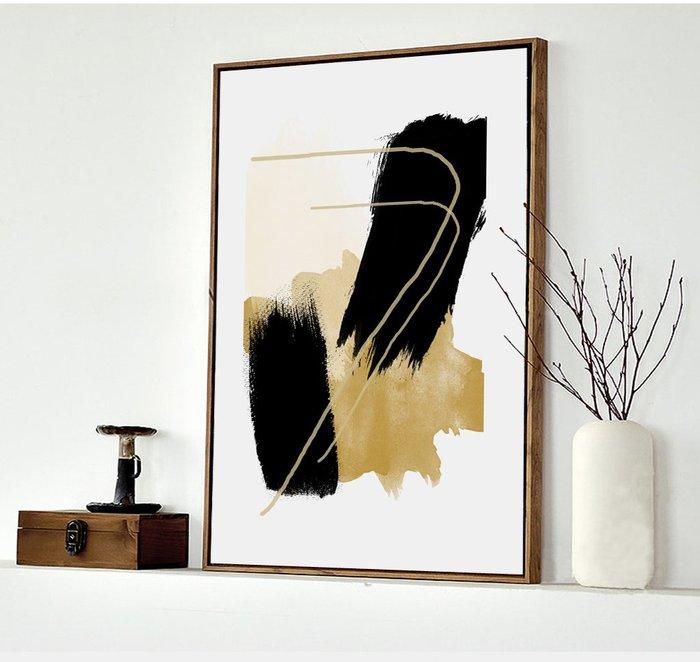 抽象現代簡約形意色塊黃色系列裝飾畫芯高清微噴打印壁畫(3款可選)
