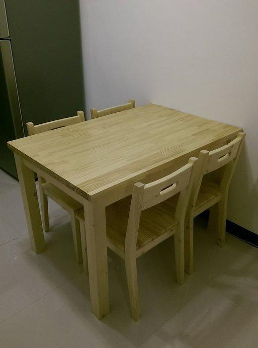 【森林原木手工家具】原木四人餐桌椅組