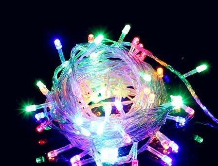 670巷:LED聖誕燈 10米100燈院造景燈/聖誕樹夜景裝飾/聖誕節日喜慶彩燈【透明線附控制器防水七彩100燈下標區】