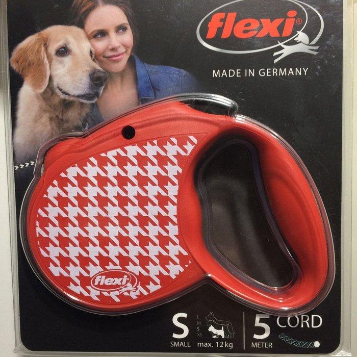 德國 Flexi 飛萊希 現貨 伸縮牽繩 千鳥格款 紅色 S號 5m 最大12kg 貓狗皆可使用 中型犬 小型犬