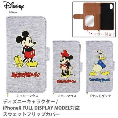尼德斯Nydus 日本正版迪士尼 米奇 米妮 唐老鴨 翻頁皮套 可插卡片 附鏡子 手機殼 iPhone X