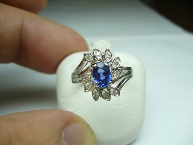 [吉宏精品交流中心]60分 天然藍寶石 天然鑽石 白K金 造型 戒指