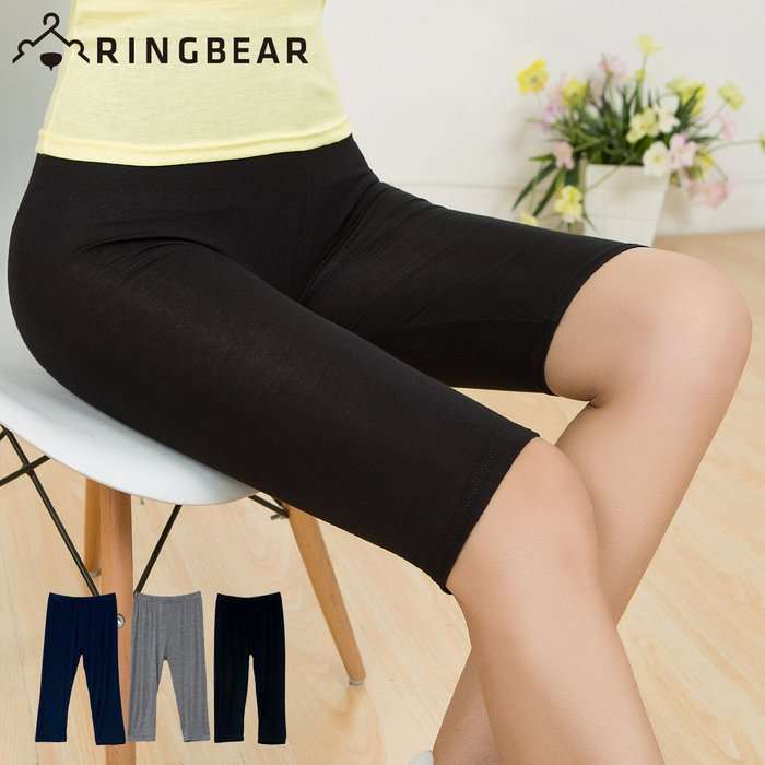 內搭褲--輕鬆零著感純色超高彈力鬆緊腰頭莫代爾棉五分內搭褲(黑.灰.藍L-3L)-R226眼圈熊中大尺碼