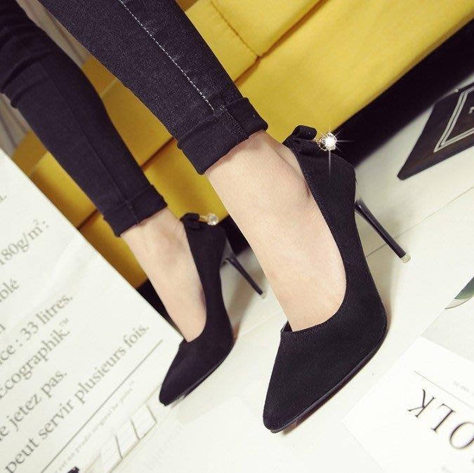 安琪兒╭日系美鞋☆╭☆精品新款發佈【S3100】歐美風簡約時尚性感尖頭淺口舒適細跟高跟單鞋女鞋 性感黑色女鞋