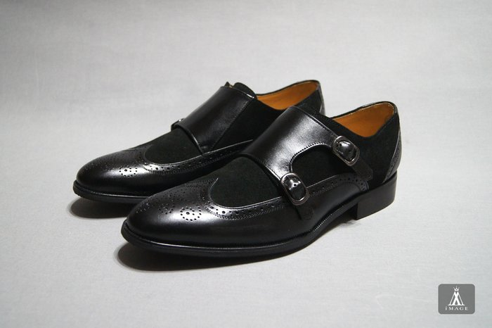 SIMPLE IMAGE(台灣製造)歐洲風格經典樣式拼皮孟克鞋a659