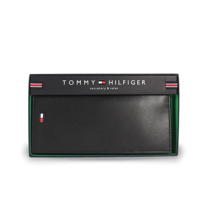 美國百分百【全新真品】Tommy Hilfiger 真皮 皮夾 皮包 卡片 TH 長夾 錢包 簡約 禮盒 黑色 G887