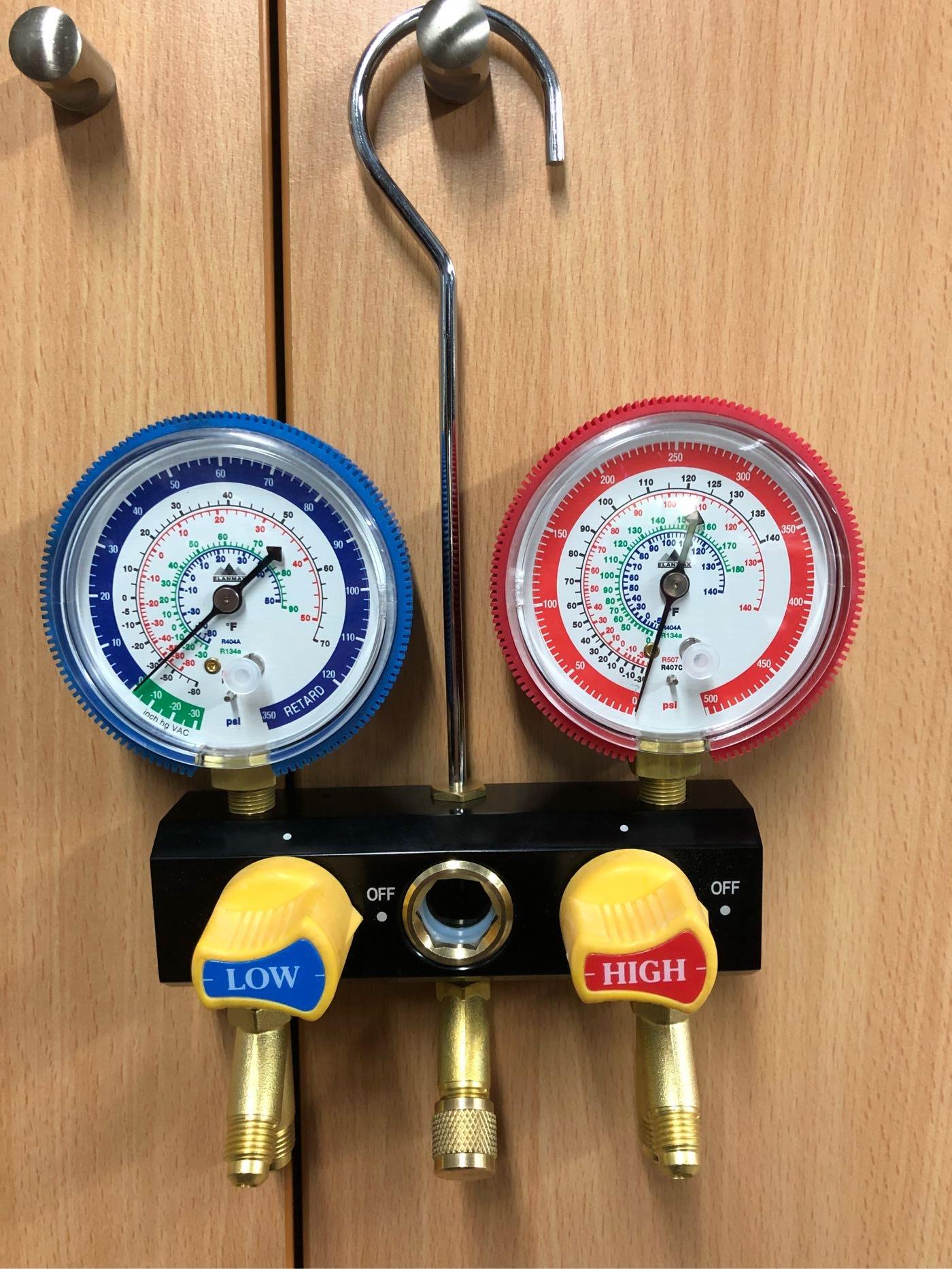 R404A R134a R507 R407C 冷媒專用 90°球閥式開關雙閥門冷媒壓力錶組 品質一級棒!