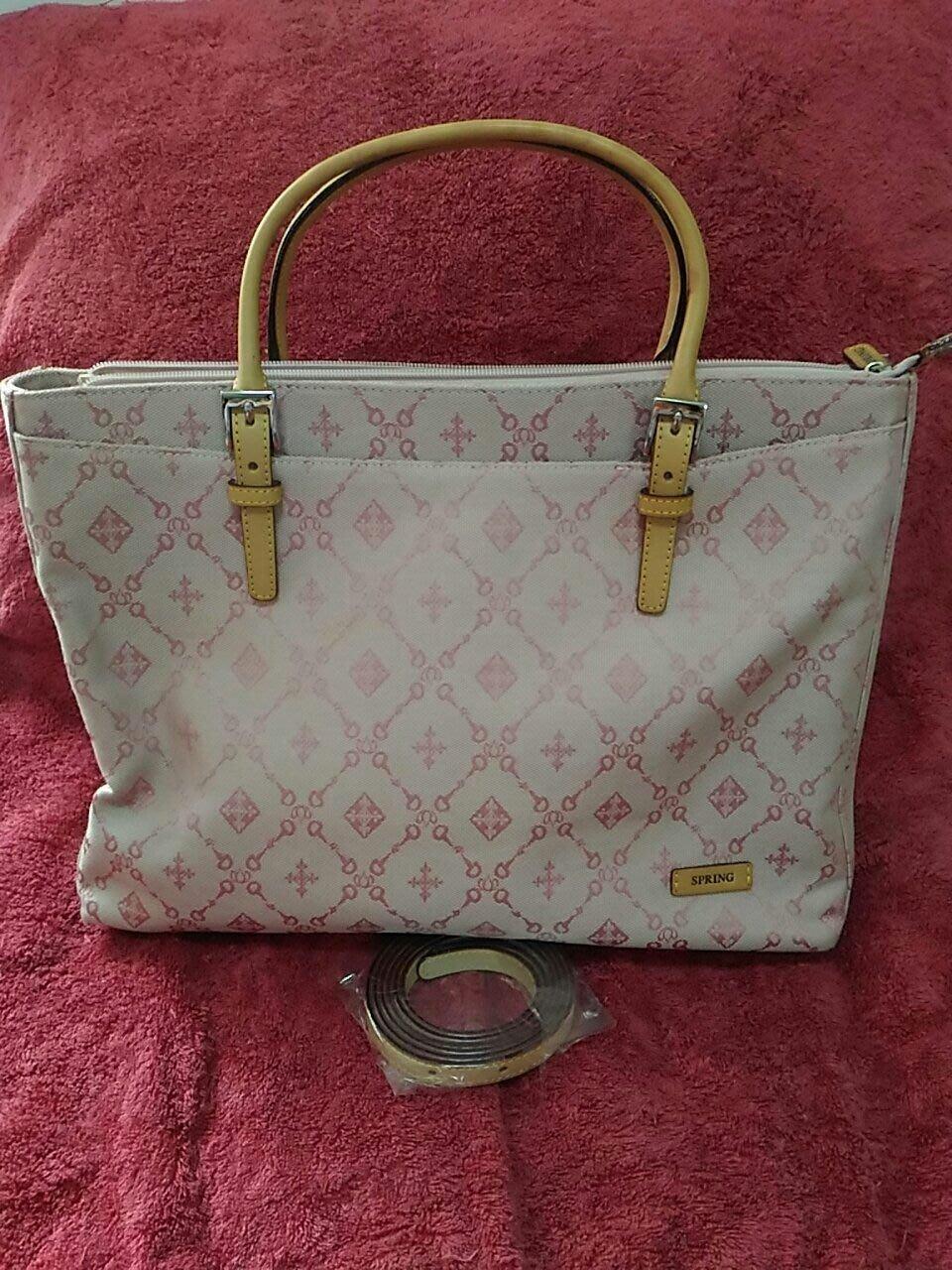 SPRING粉色緹花布公事包 筆電包 附背帶