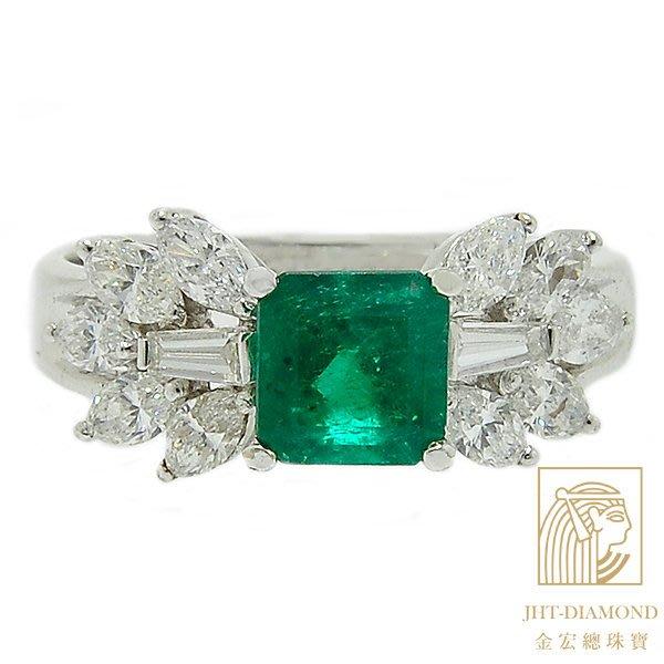 【JHT 金宏總珠寶/GIA鑽石專賣】1.11克拉天然祖母綠戒指 /材質:18K (E000030)