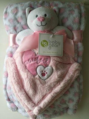 【美國品牌】100%全新正品 嬰幼兒 輕柔舒眠 極柔絨毯/ 毛毯/ 抱毯/ 萬用毯 冷氣房可用 彌月禮 二件組BAB17