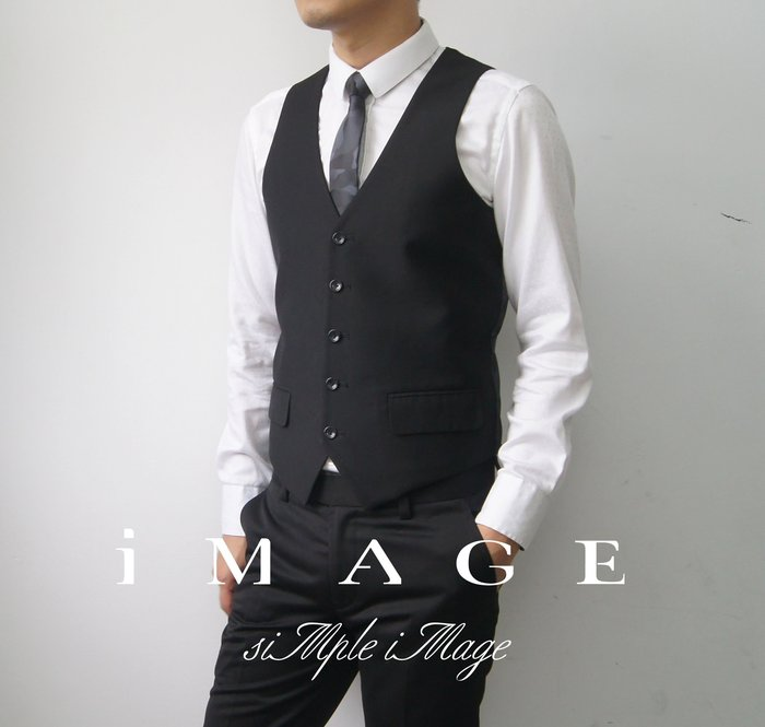 SIMPLE IMAGE(手工製作)修身剪裁黑色紳士西裝背心a410