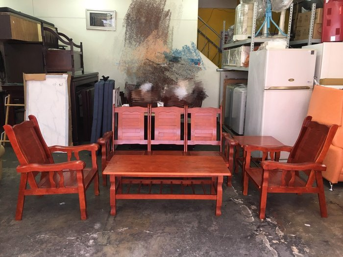 非凡二手家具全新品百葉全實木1+1+3人座+大小茶几沙發椅組*木製沙發*客廳桌*沙發桌*客廳沙發*茶几桌*B264-8