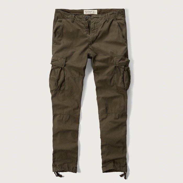 美國百分百【Abercrombie & Fitch】褲子 AF 休閒褲 長褲 麋鹿 工作褲 合身 深橄欖綠 H306