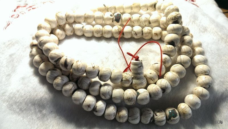 0923藏傳八吉祥老硨磲佛珠108顆老硨磲念珠19MM紅線傳承百年的鉛螺硨磲品像一級