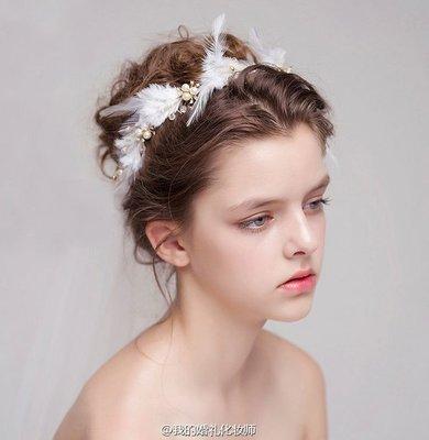 新娘頭飾 珍珠羽毛手工飾品 結婚配飾 婚紗造型髮飾歐美流行髮帶