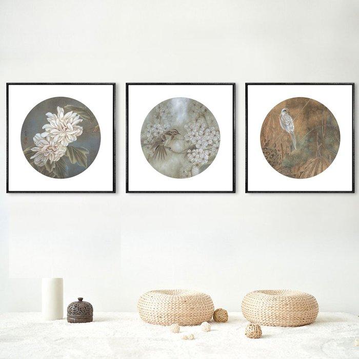 新中式抽象花卉鳥類復古小品玄關客廳沙發背景牆掛畫(3款可選)