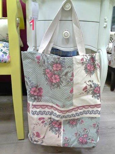 美生活館---全新日式雜貨ZAKKA鄉村風貓頭鷹玫瑰熊花草英國國旗帆布袋購物袋手提袋--1