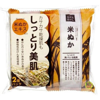 【JPGO】日本製 Pelican 沐浴香皂肥皂 二入組~米糠 美肌潤澤 #085