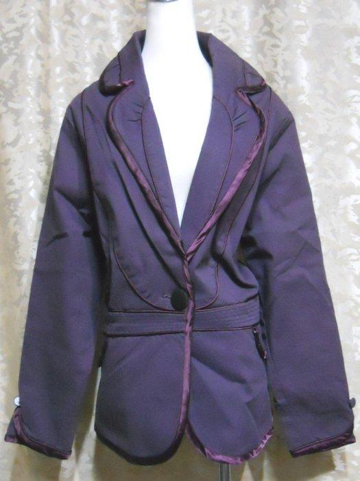 ~麗麗ㄉ大碼舖~大尺寸#14-20 44-50吋 紫色前單扣V領長袖彈性西裝外套~專櫃加大