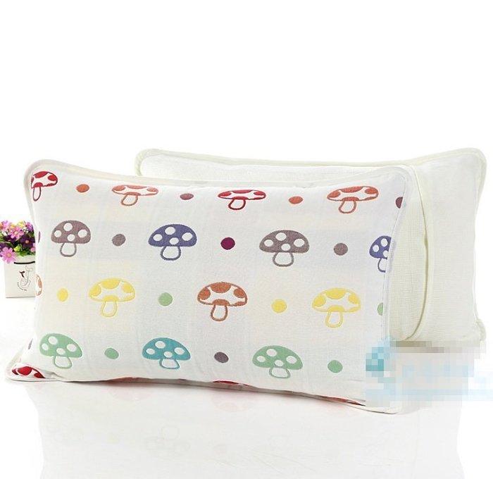 【現貨】枕頭套 六層紗布純棉枕頭套 蘑菇/草莓 兒童枕頭套 新生兒枕頭套 30*50cm [ MACHI SHOP ]