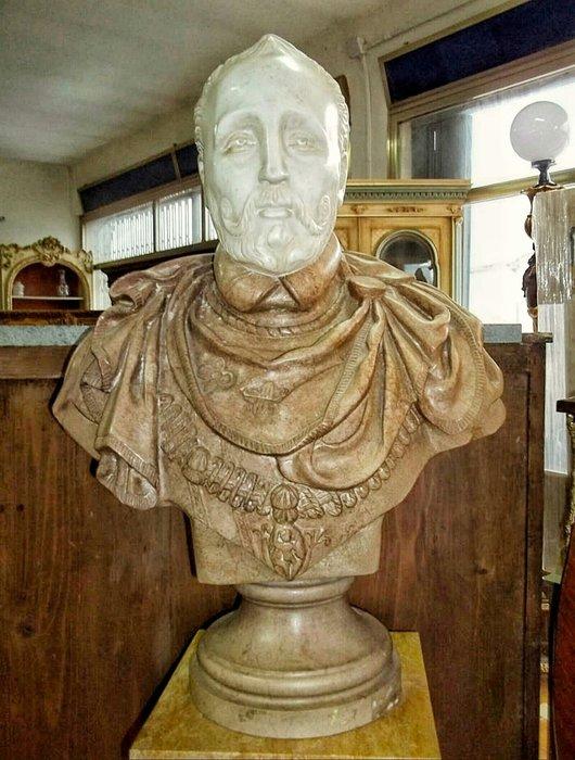 【波賽頓-歐洲古董拍賣】歐洲/西洋古董 意大利古董 19世紀 帝國主義風格  大型大理石雕塑像(尺寸:80x60公分)