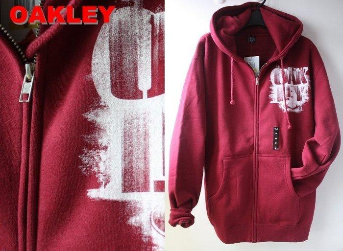 特價【美國知名運動品牌 OAKLEY】100% 全新正品 一般 合身款 長袖 連帽 外套/ 暗紅色*520VT*【M】