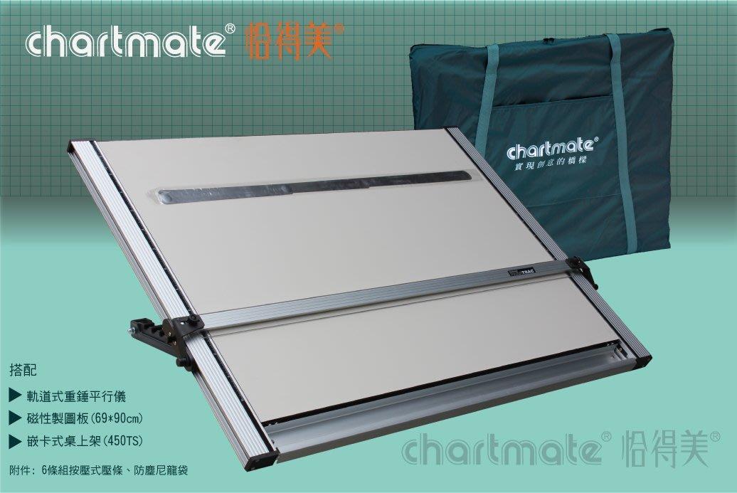 chartmate 恰得美 製圖桌:334DM-90WT+450TS桌上型重錘平行儀製圖桌69*90cm證照考試用