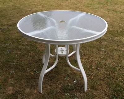 兄弟牌白色90cm全鋁合金玻璃庭院桌,防鏽高雅大方~居家庭園休閒傢俱!!