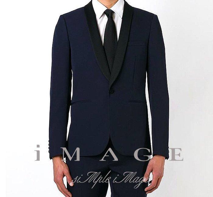 SIMPLE IMAGE優雅法國風格藍色絲瓜領禮服西裝a366