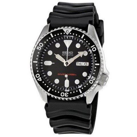 【金台鐘錶】SEIKO 精工 200M 潛水機械錶- 膠帶 黑水鬼 38mm (中型) SKX013K1
