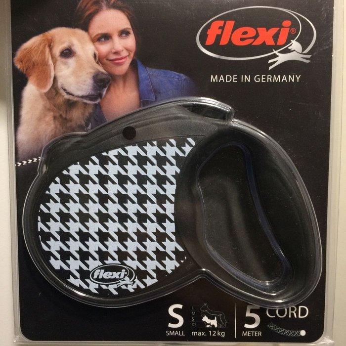 德國 Flexi 飛萊希 現貨 伸縮牽繩 千鳥格款 黑色 S號 5m 最大12kg 貓狗皆可使用 小型犬 中型犬