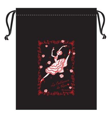 芭蕾小棧生日畢業表演禮物日本進口CHELSEA浪漫文具舞者束口袋舞衣袋舞鞋袋黑底紅圖