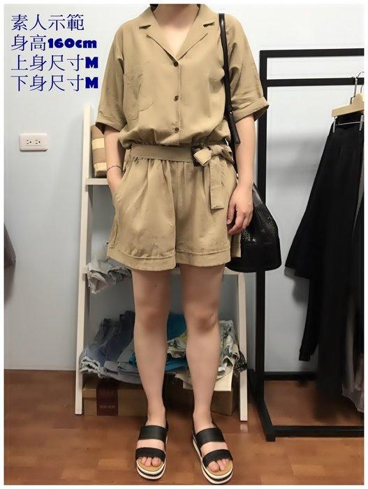 正韓【Meet Shop】Jul-02 質感短袖棉麻連身短褲 附腰帶 氣質粉/文青卡其 現貨