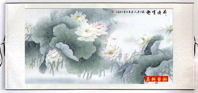 『名軒花鳥畫』 國畫字畫 牡丹裝飾畫 風水畫 山水畫 花鳥字畫(荷塘情趣)  已裱卷軸可直接懸掛